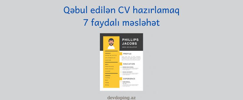 Photo of Hazir CV formasi və Cv hazırlamaq üçün 7 əsas qayda.