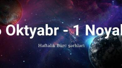 Photo of 26 Oktyabr – 1 Noyabr 2020 – Həftəlik Bürclər (Qoroskop) ✅
