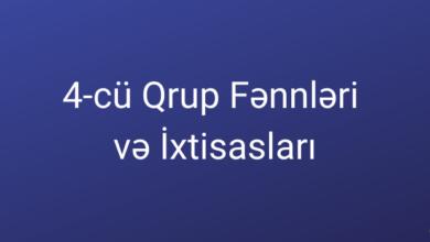 Photo of 4 cu Qrup Fənləri və İxtisasları (2020) ✅