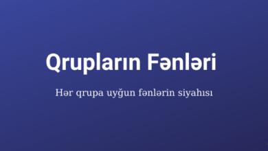 Photo of Qrupların fənləri (2020). Qruplar üzrə fənlər ✅